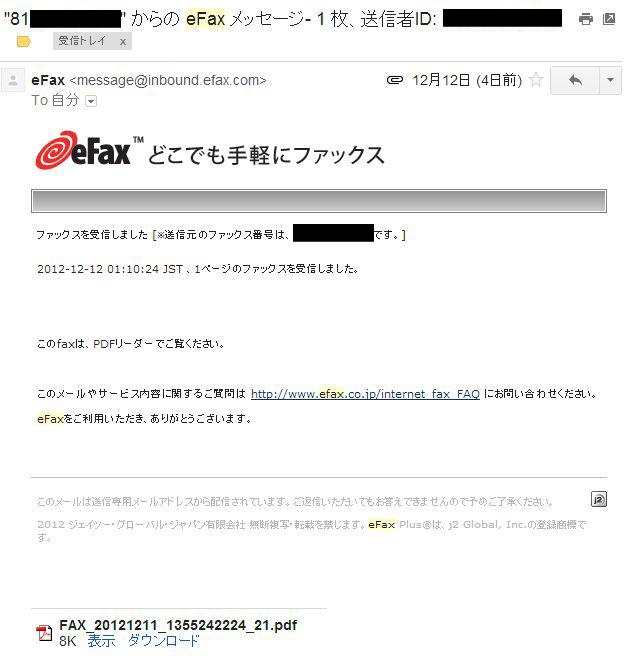 メールでファックス受信管理